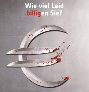 Dumpingpreise schaffen Tierleid – Kampagnenmotiv des Deutschen Tierschutzbundes.