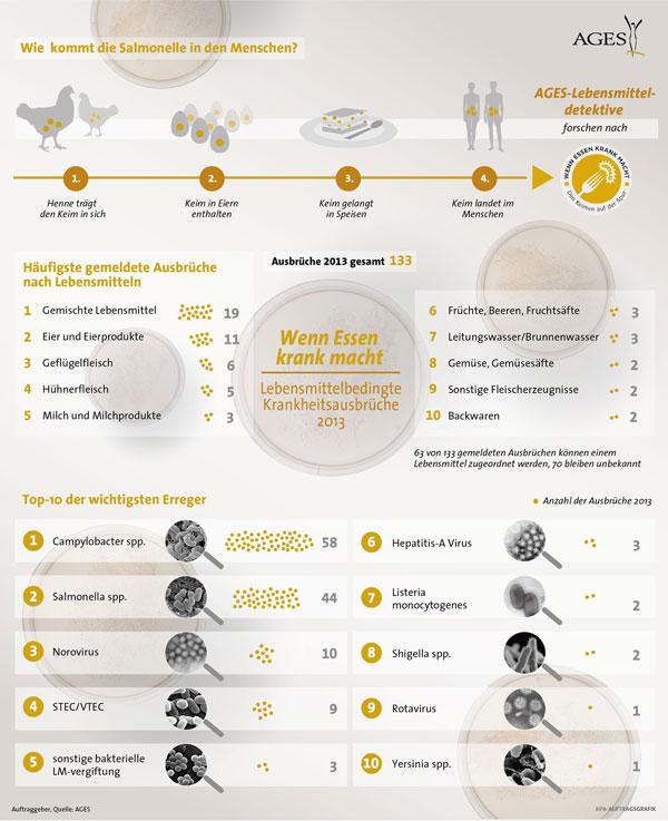 Lebensmittelbedingte Krankheitsausbrüche in Österreich 2013