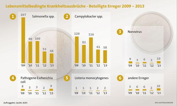 Erregerentwicklung für lebensmittelbedingte Krankheitsausbrüche 2013 in Österreich