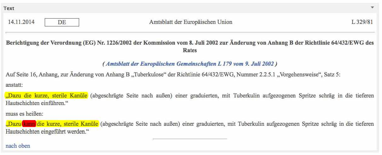 Geänderter Text der EU-Verordnung zum TBC-Test bei Rindern.