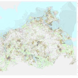 Karte mit den Rastgebieten von Wasservögeln in Mecklenburg-Vorpommern