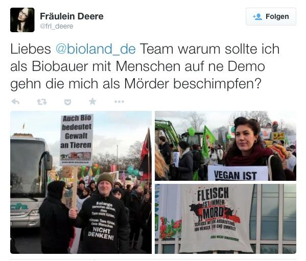 """Warum auch Biobauern bei der  """"Wir haben es satt""""-Demo nicht mitgehen sollten. (© screenshot tweet @frl_deere)"""