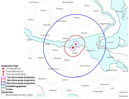 Die zeigt die Sperrzonen rund um die H5N8-Ausbrüche in Anklam.