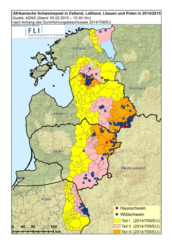 Karte der ASP-Ausbreitung an der EU-Ostgrenze – Stand 5.2.2015.