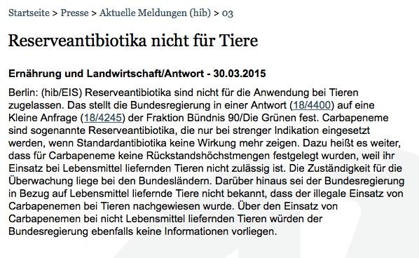 """Bildschirmfoto der Bundestagsfalschmeldung zur """"Nichtzulassung von Reserveantibiotika""""."""