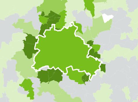 Die Pferdehaltung konzentriert sich in den Speckgürteln der Großstädte – hier Berlin. (©agraratlas.de)