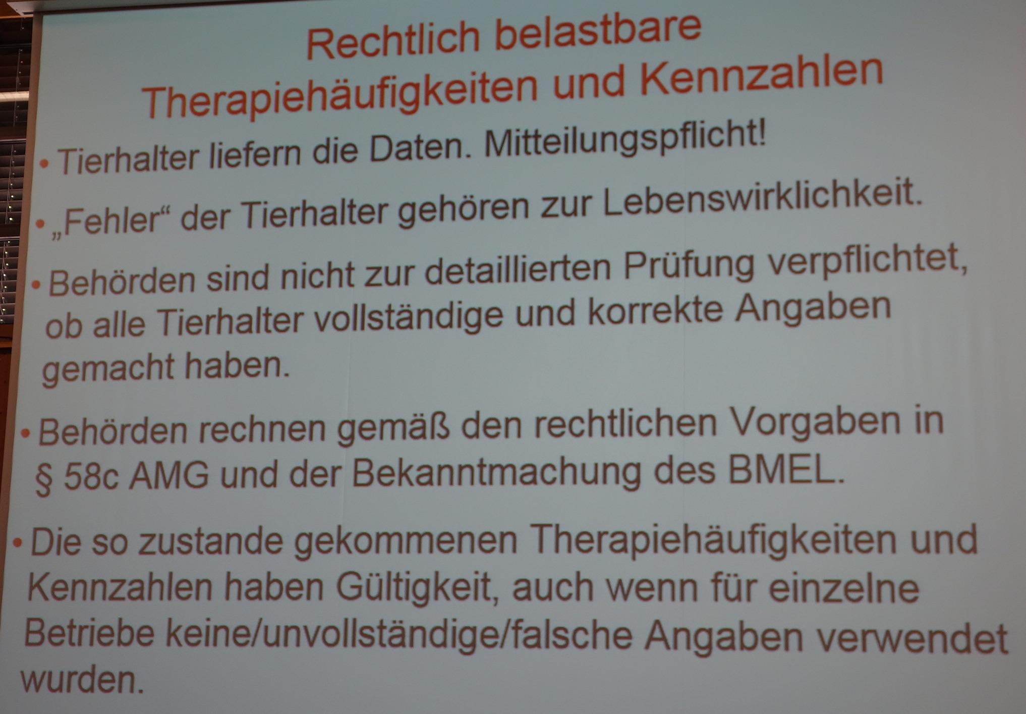 Trotz Mängel halten die Behörden die ersten Zahlen der Antibiotika-Datenbank für rechtlich belastbar. (Foto: Vortrag Dr. Sommerhäuser/BbT-Kongress)