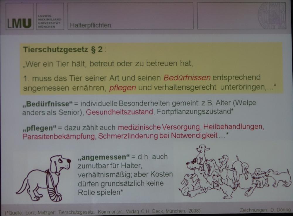 Tierhalterpflichten laut Tierschutzgesetz. (© Döring/LMU-münchen/Vortrag Bay. Tierärztetage 2015)