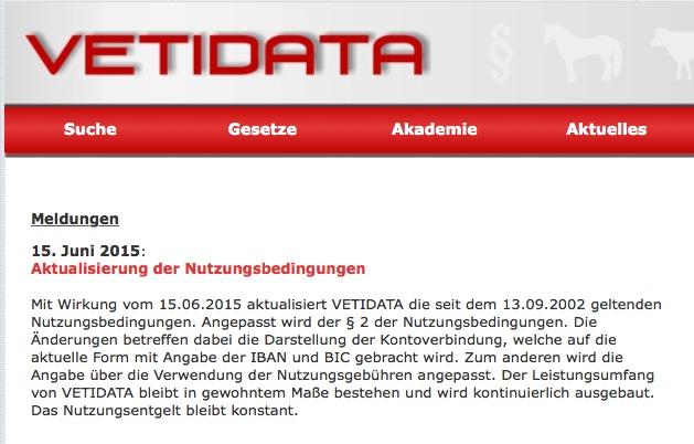 Meldung über die geänderten Nutzungsbedingungen. (©screenshot vetidata-Webseite)