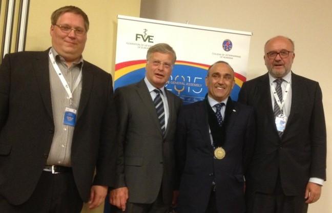 Die bpt-Delegation zur FVE-Generalversammlung im rumänischen Iasi mit dem neuen Präsidenten ((v.ln.r): Dr. Andreas Palzer, Dr. H.-J. Götz, Dr. Rafael Languens (Präsident), Dr. Rainer Schneichel. (Foto: ©bpt)