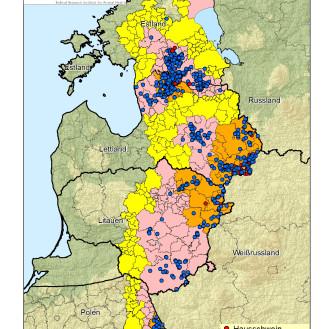 Ausbreitung der Afrikanischen Schweinepest an der EU-Ostgrenze, Stand 23.07.2015 (© Karte FLI)