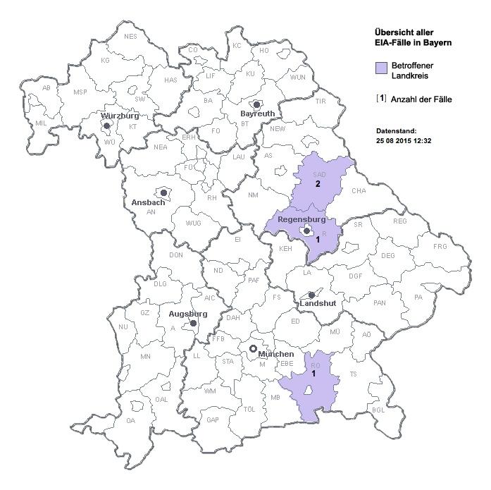 Übersichtskarte der EIA-Ausbrüch in Bayern 2015. (© LGL-Bayern)