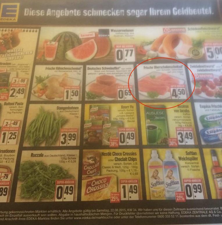 Ramschpreise? Kilopreis Schweinesschnitzel für 4,50 € –EDEKA selbst kann es sogar noch billiger als seine Discounttochter Netto (Kilopreis 5,15 €). (© Thomas Ostendorf via Twitter)