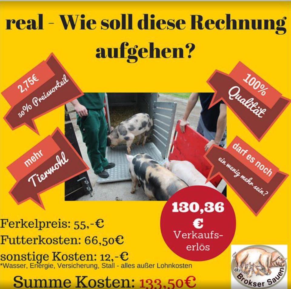 Nicht mal kostendeckend – Was es einen Bauern kostet, ein Schwein zu mästen und was er dafür aktuell bekommt. (© Henke/Twitter)