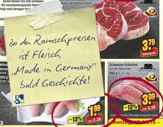 Ramschpreiswerbung von Netto-Marken-Discount für rein deutsche Fleischprodukte (© ISN)