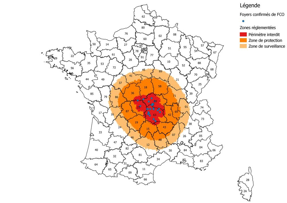 Restriktionszonen zur Eindämmung der Blauzungenkrankheit in Frankreich (Stand 25.9.2015)