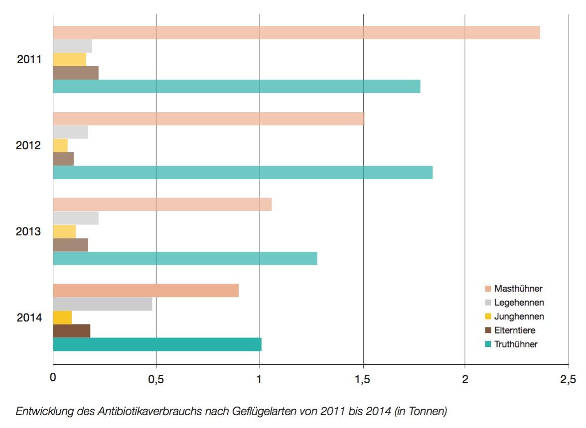 Entwicklung des Antibiotikaeinsatzes innerhalb der Geflügelarten in Österreich. (Grafik © QGV)
