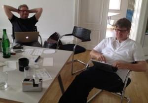 Bei der Arbeit: mit Gerald Jude in Wiesbaden