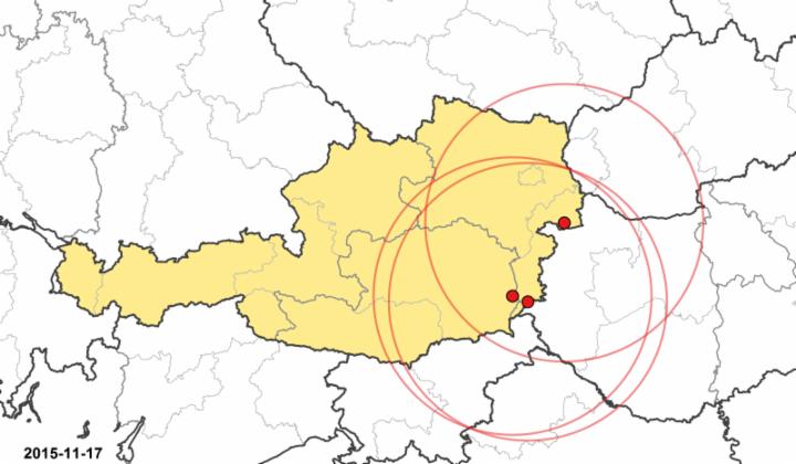 Blauzungenkrankheit in Österreich – Ausbruchsbetriebe und Sperrzonen. (Karte © BMG-Austria)