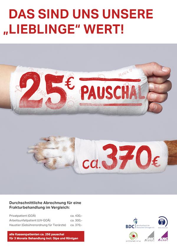 """Motiv 2 der Plakatkampagne – der Berufsverband der Niedergelassenen Chirurgen bezeichnet das selbst als """"Agitation"""". (© BDC)"""