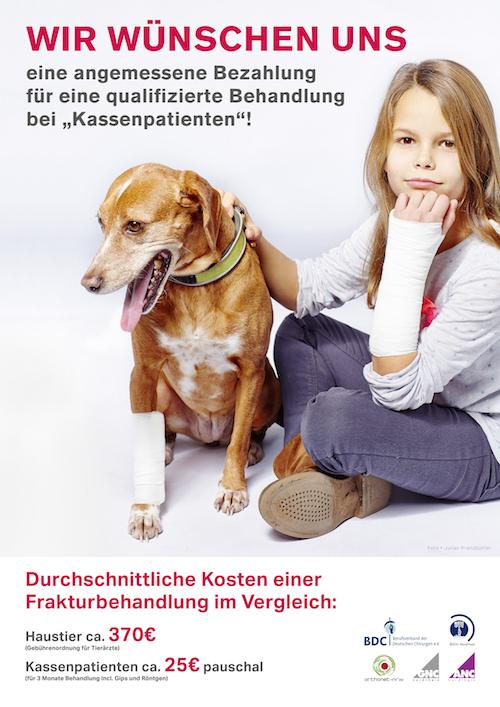 Hilfeschrei oder Neidkampagne? Plakat-Aktion des Berufsverbandes der Niedergelassenen Chirurgen. (© BDC)