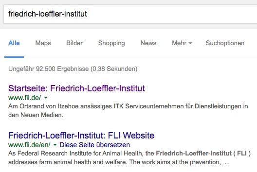 Google hat noch nicht gelernt, dass die neue FLI-Adresse nicht (mehr) zu einer privaten IT-Firma gehört? (screenshot: 10.12.2015)