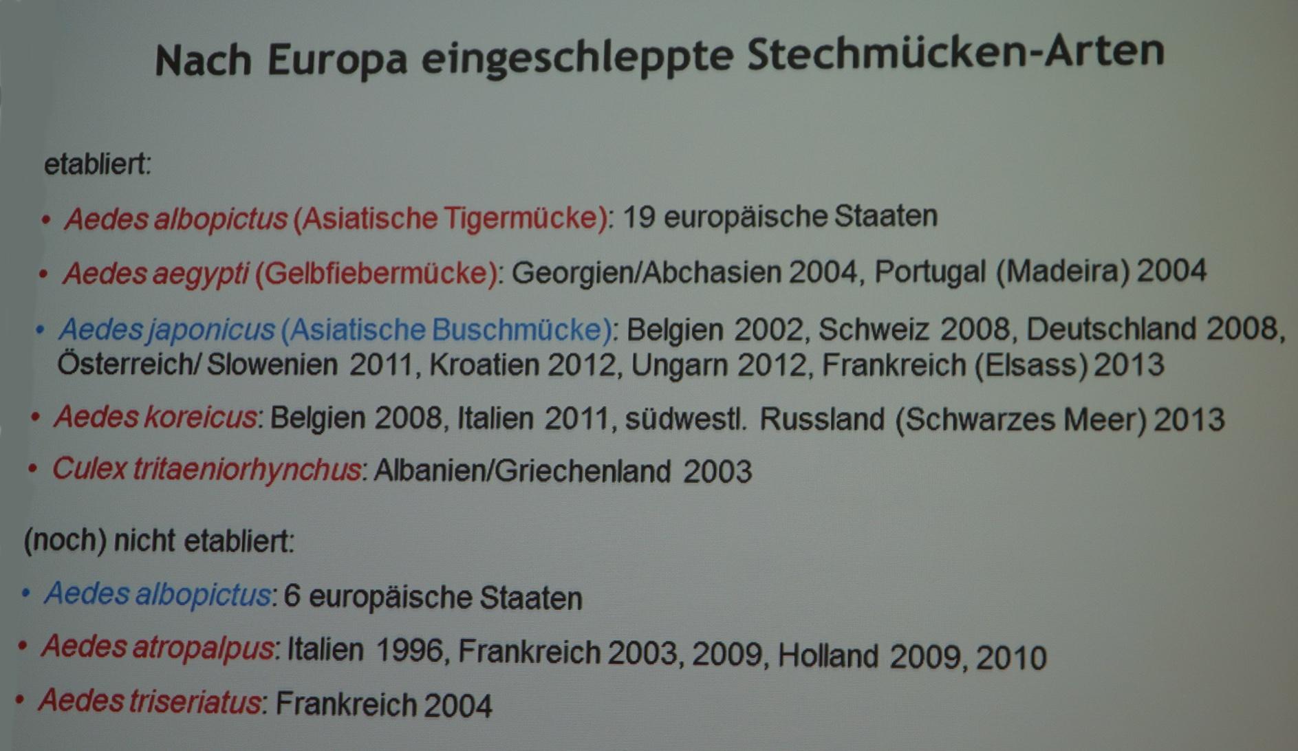 """Eine ganze Reihe """"exotischer"""" Mückenarten sind bereits in Europa heimisch. (Tabelle: ©BTK/FLI Mettenleitner)"""