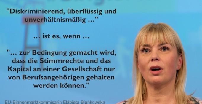 Kritisiert deutsches Standesrecht: Elżbieta Bieńkowska. (Foto: ©EU/Georges Boulougouris – Montage WiSiTiA/jh
