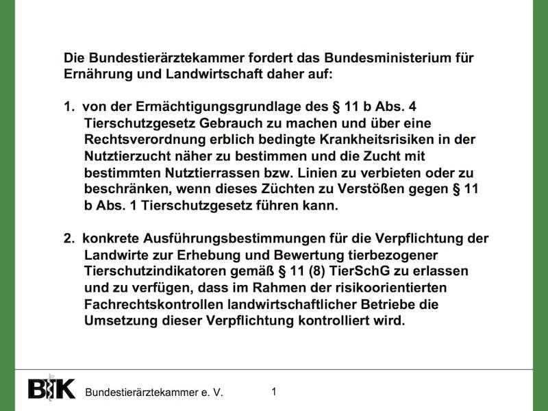 BTK_Resolution Zuchtziele der Nutztierzucht unter Tierschutzaspekten. (© BTK)