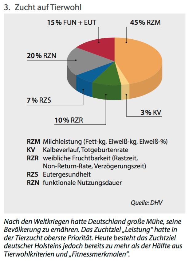 Zuchtziel Milchleistung: Deutschland 45 % – Niederlande 30% – das sagt die Grafik nicht. (Grafik: ©DHV/Elite)