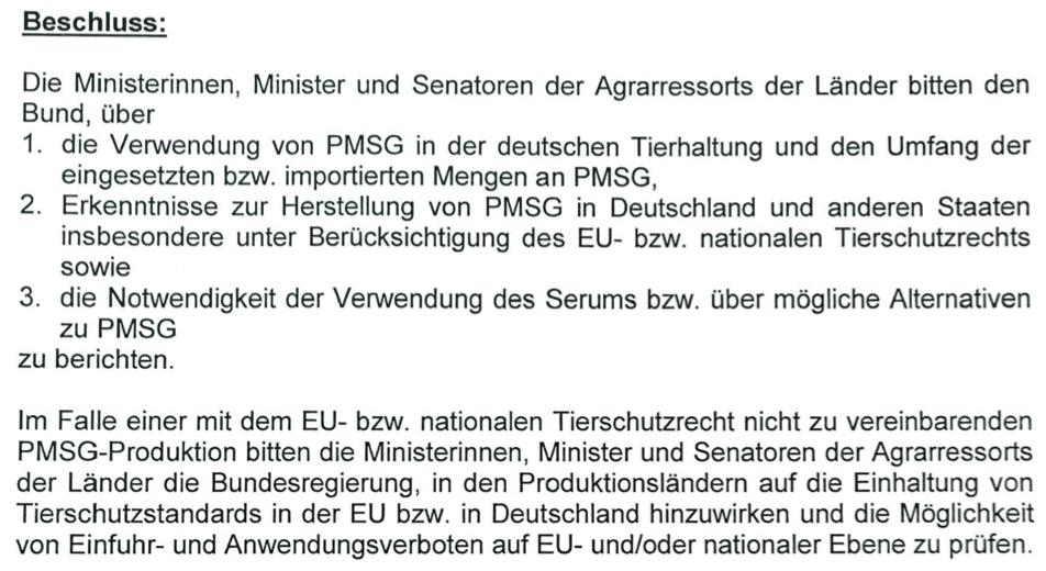 PMSG-Beschluss der Länderagrarministerkonferenz in Göhren-Lebbin (April 2016)
