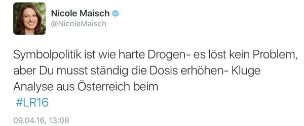 DIe Grüne Agrarpolitikerin Nicole Maisch auf Twitter.