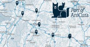Elf der bisher 18 Standorte der Klinikkette AniCura liegen in Süddeutschland. (Karte/Logo: ©Anicura)