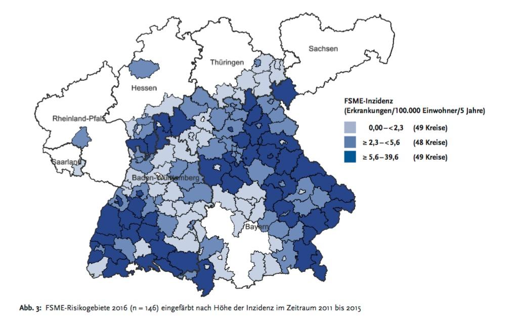 Karte: Bisher gilt Süddeutschland als DAS Risikogebiet für Zeckenenzephalitis.