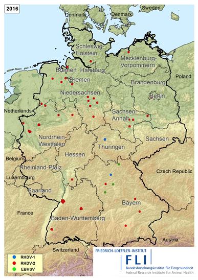 Karte mit RHDV-2 Ausbrüchen.