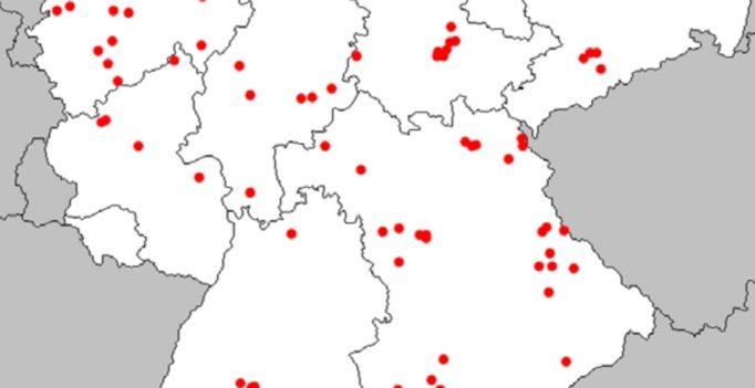 Karte der EIA-Ausbrüche in Deutschland von 2006 bis 2016.