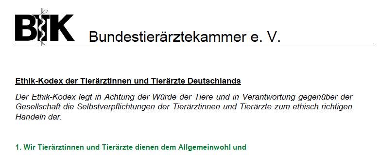Präambel des Ehtik-Kodexes der Deutschen Tierärzte. (© BTK)