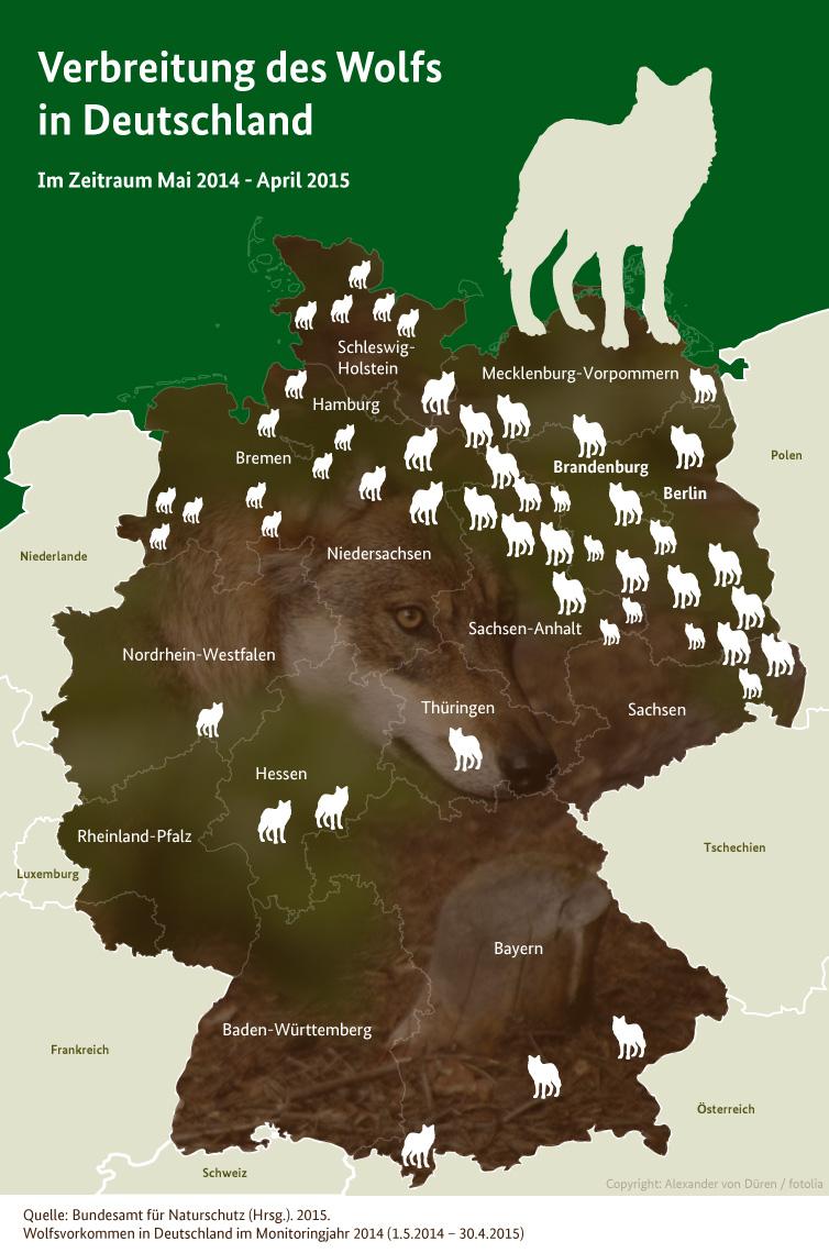 """Grafische Wolfsverbreitungskarte (Basis 2014/2015) – die aktuellen """"wissenschaftliche"""" Karte finden Sie hier"""