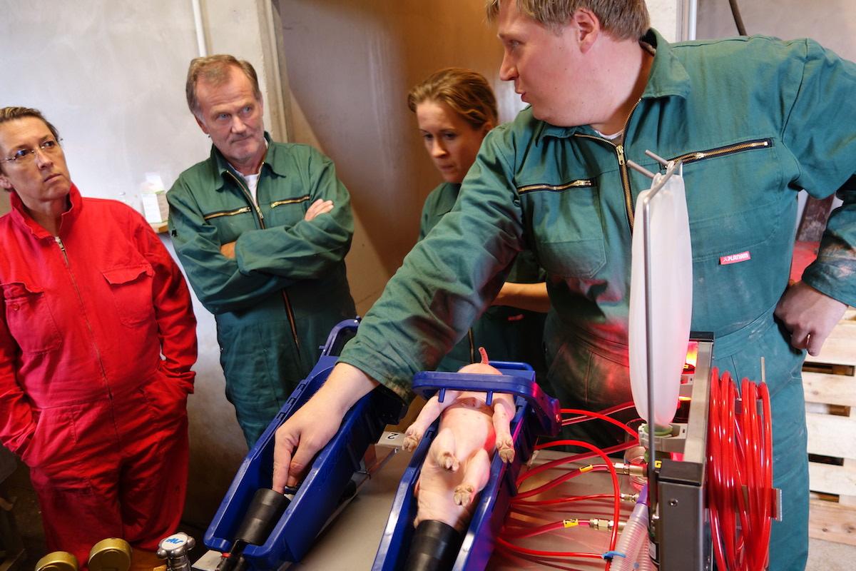 Zweiflutige Isofluran-Narkoseanlage. Hoftierarzt Dr. Andreas Paltzer (re.) erklärt Dr. Iris Fuchs (BTK-Vizepräsidentin) und Dr. Siegfried Moder (bpt-Präsident) die Absaugvorrichtung. (Foto: © WiSiTiA/jh)