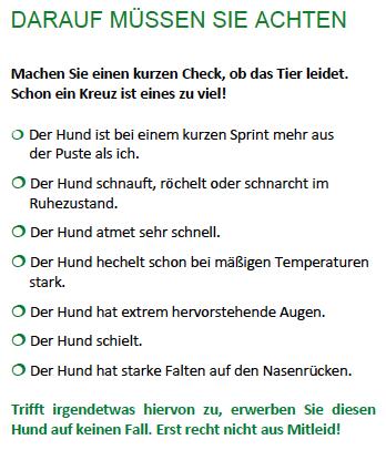 """Erste Checkliste für das Qualzuchtsymptome """"Brachyzephalie"""". (Ausschnitt BTK-Faltblatt / ©BTK)"""