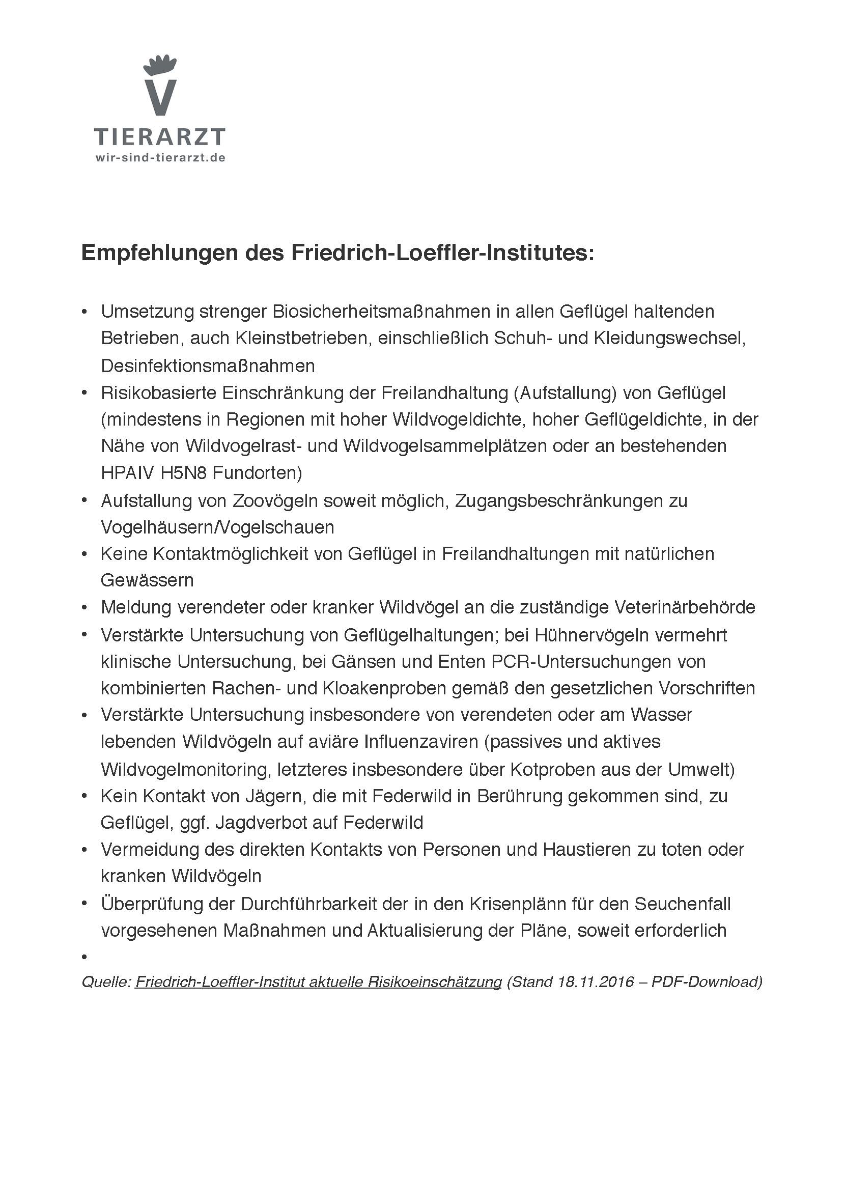 Aktuelle Empfehlungen des FLI zur Vorbeugung von H5N8-Infektionen (PDF-Download hier) © FLI