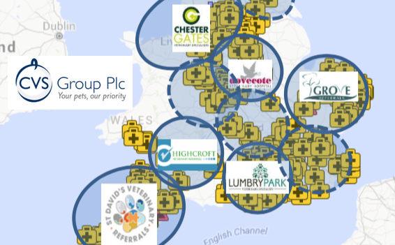 Der Kleintierpraxismarkt in Großbritannien gilt als weitestgehend abgedeckt. Jetzt plant die Tierarztkette CVS-Group den Sprung über den Kanal nach Kontinentaleuropa. (Karte: © CVS Investorenbericht Juni 2016)