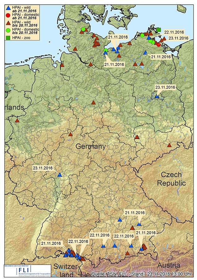 Karte der H5N8-Nachweise in Deutschland (Stand 23.11.2016 – © FLI)