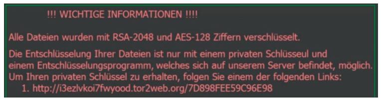 """Höfliche Erpressung: Folgen Sie dem Link – Bildschirmnachricht des Krypto-Trojaners """"Locky""""(Foto: screenshot via heis.de/ct)"""