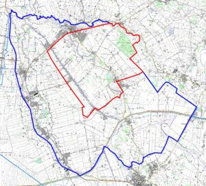 Karte mit Sperrgebiet (rot) und Schutzzone (blau) um den H5N8-Ausbruch in Barßel. (Karte: © Landkreis Cloppenburg)