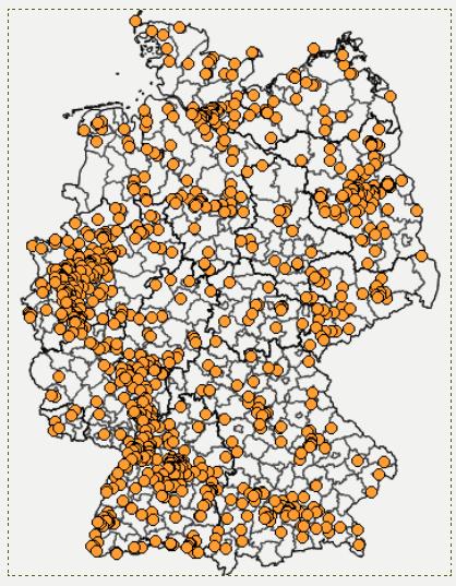 Mückenatlas für Deutschland: Einsendungen werden identifiziert und kartographiert – so will man Exoten erkennen. (Karte: © Projekt Mückenatlas)