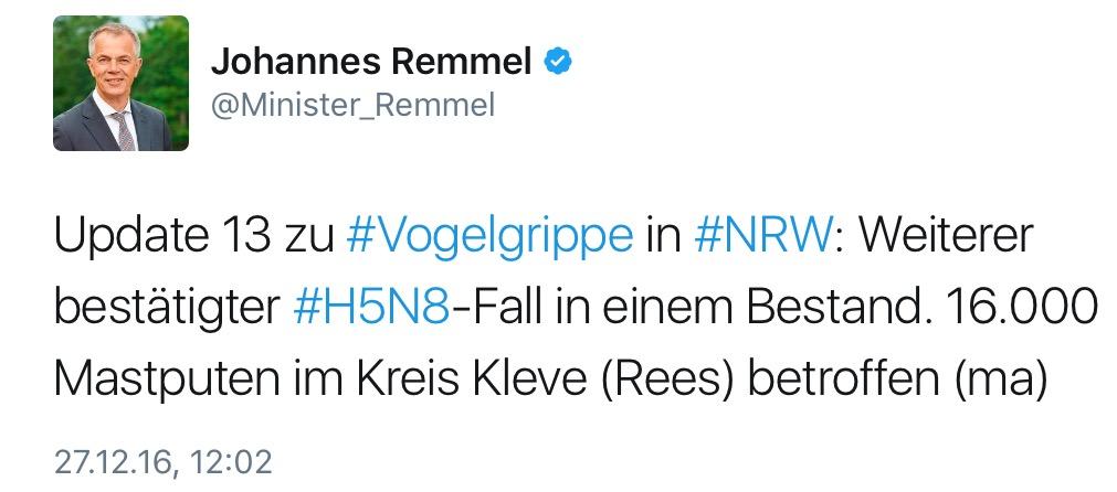 Neuer Vogelgrippefall in NRW, Kreis Kleve. (Foto: Screenshot Tweet.NRW.Remmel)