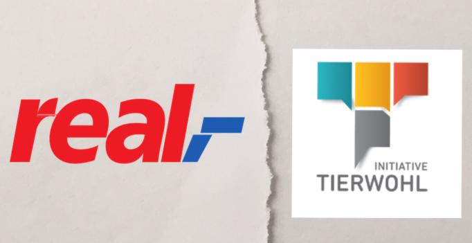 Getrennt: die Supermarktkette real;- steigt zum Jahresende aus der Initiative Tierwohl aus. (© Logos: ITW/real,- – Montage: WiSiTiA/jh)