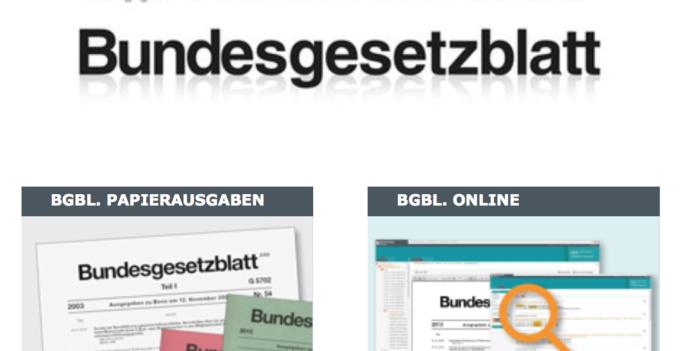 screenshot Webseite Bundesanzeigerverlag Titelbilder Bundesgsetzblatt