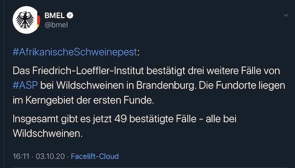 BMEL-Tweet mit der Bestätigung für drei weitere ASP-Nachweise in Brandenburg – Gesamtzahl 49
